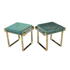 "Custom Lucite and Solid Brass ""Box"" Benches by Charles Hollis Jones"