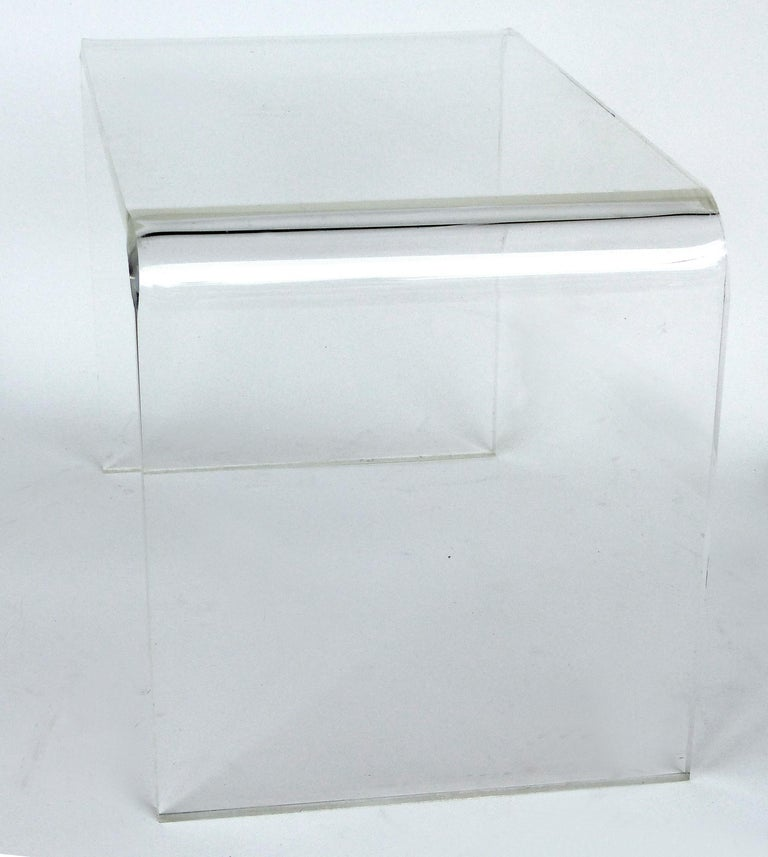 Mid-Century Modern Custom Lucite Waterfall Table or Bench with Curved Sides