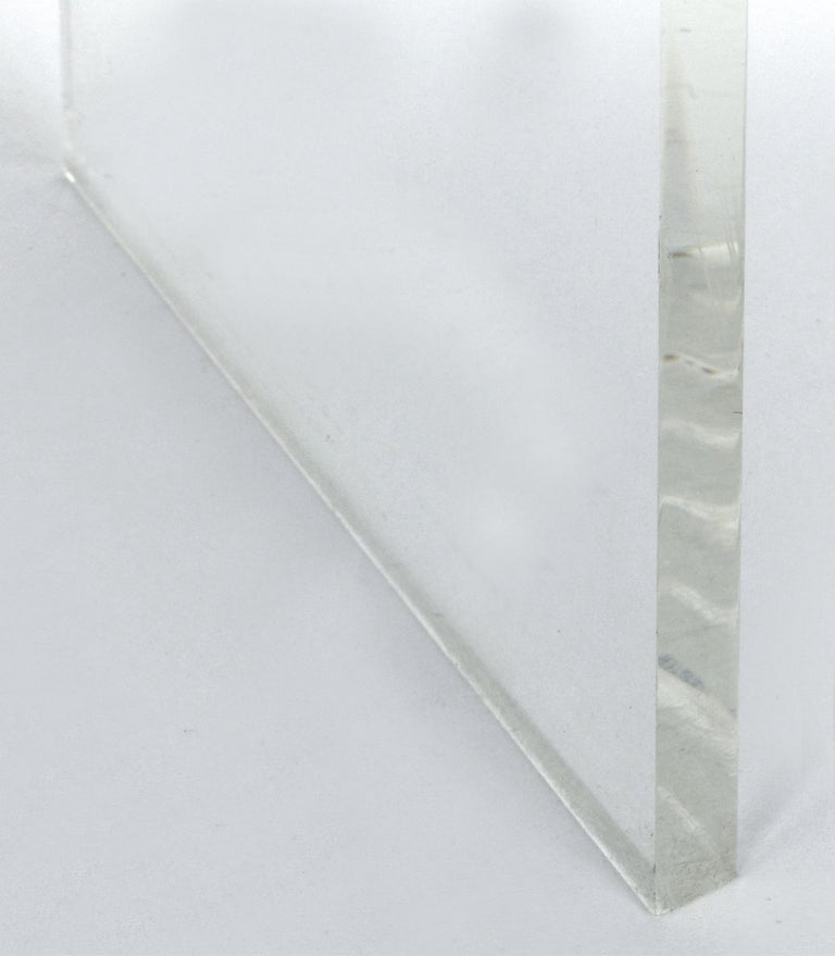 Custom Lucite Waterfall Table or Bench with Curved Sides 1