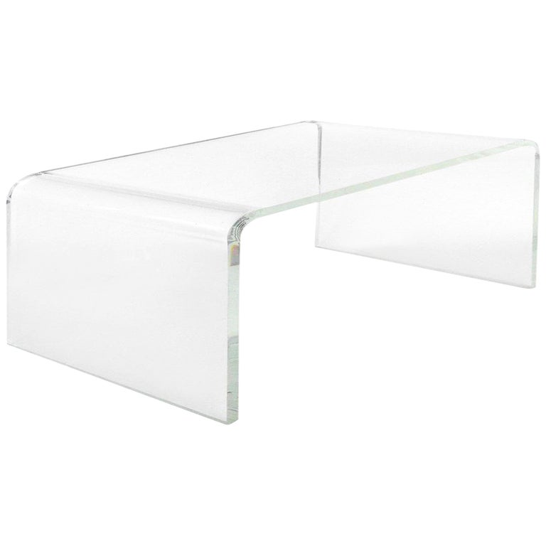 Custom Lucite Waterfall Table or Bench with Curved Sides