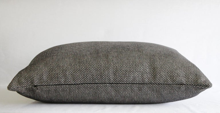Custom Lumbar Pillow in Black and Silver Gray Woven Fabric In New Condition For Sale In Brea, CA