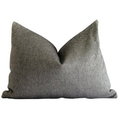 Custom Lumbar Pillow in Black and Silver Gray Woven Fabric