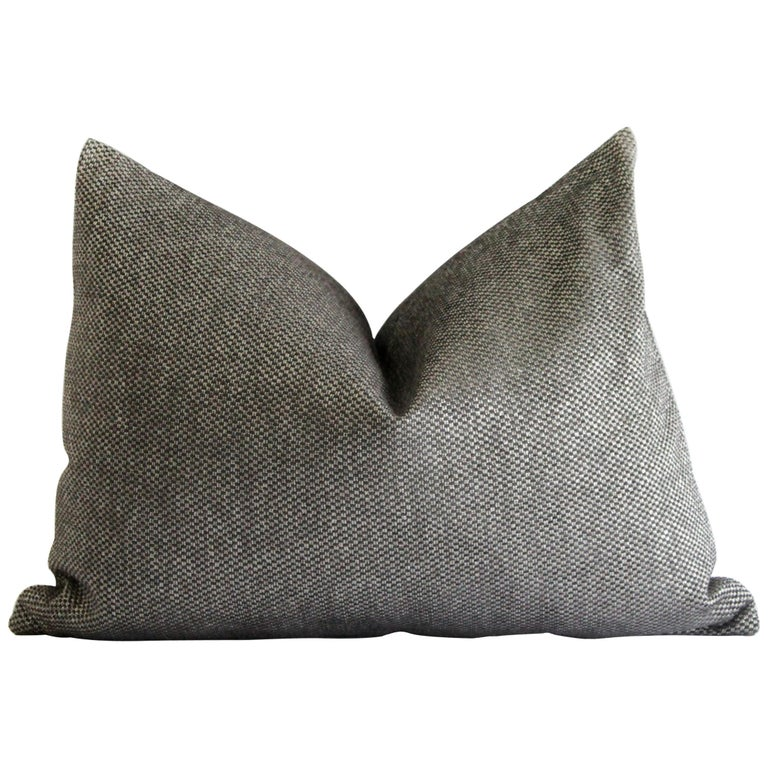 Custom Lumbar Pillow in Black and Silver Gray Woven Fabric For Sale