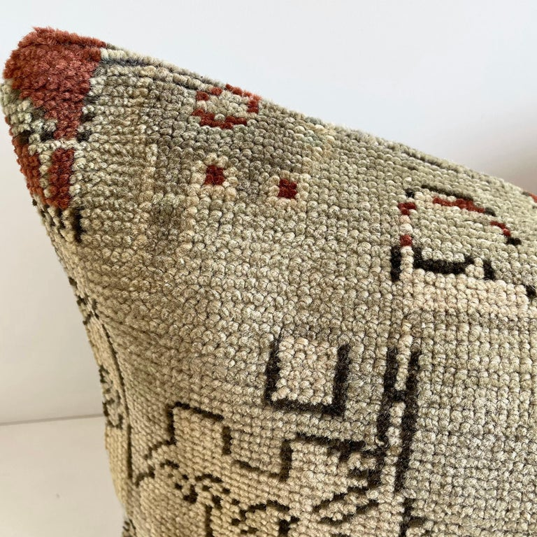 Hand-Woven Custom Lumbar Turkish Kilim Rug Wool Pillow with Insert For Sale