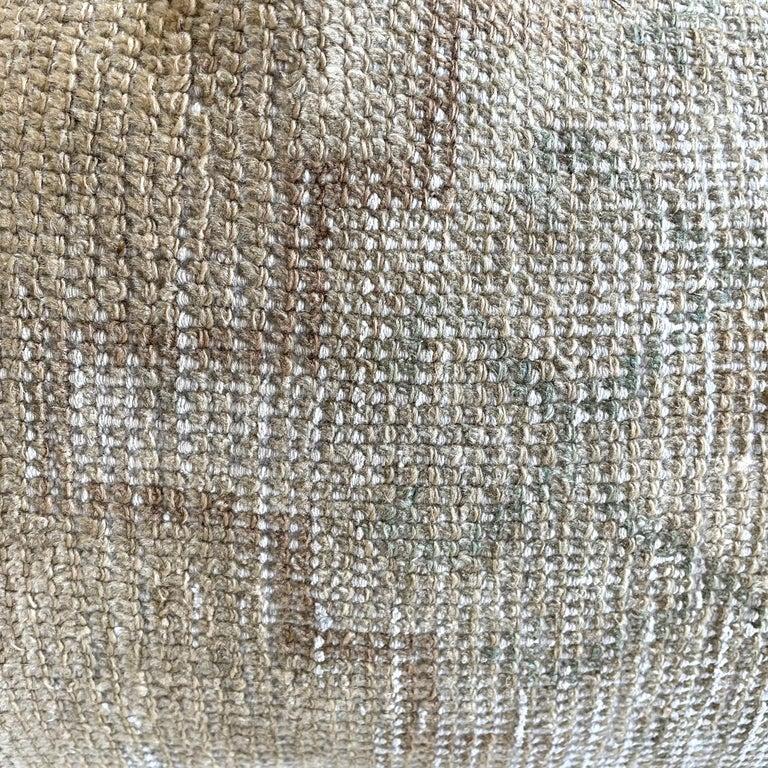 Hand-Woven Custom Lumbar Turkish Kilim Rug Wool Pillow with Insert For Sale