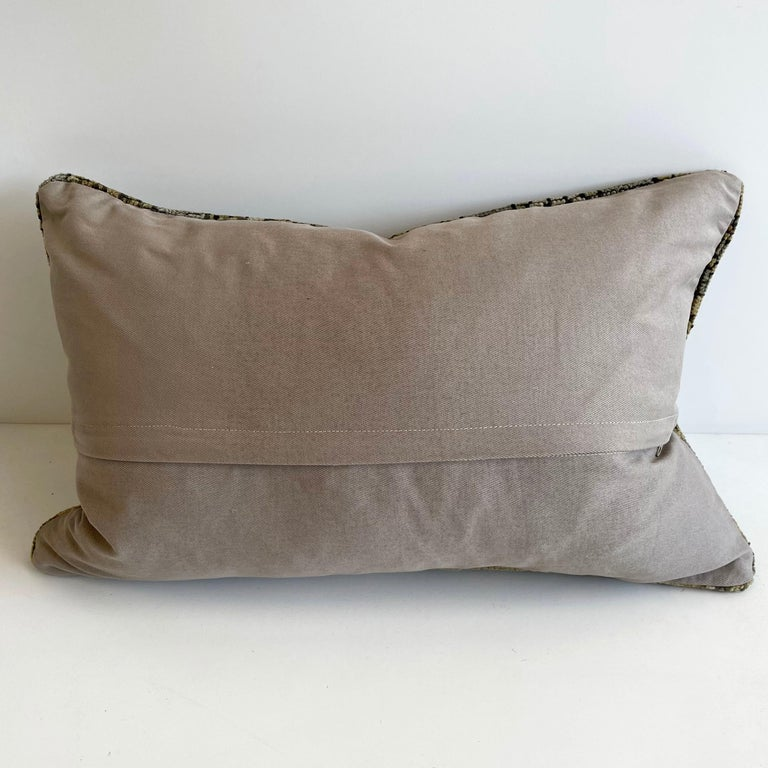 Custom Lumbar Turkish Kilim Rug Wool Pillow in Tans and Grays with Insert In Good Condition For Sale In Brea, CA