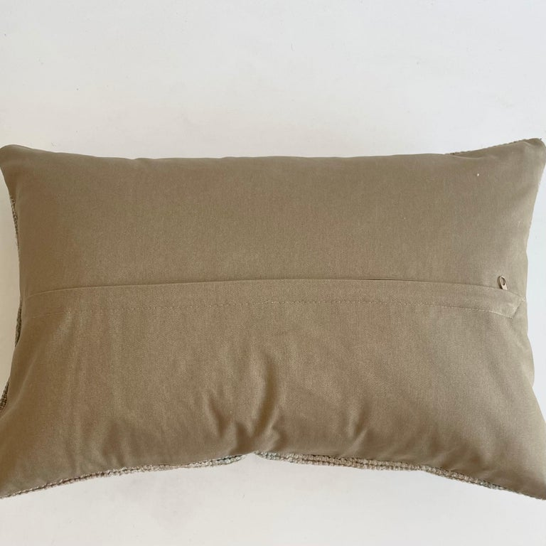 Custom Lumbar Turkish Kilim Rug Wool Pillow with Insert For Sale 1