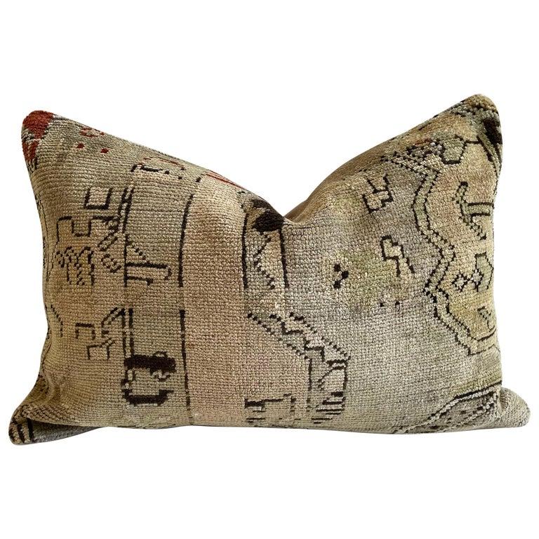 Custom Lumbar Turkish Kilim Rug Wool Pillow with Insert For Sale