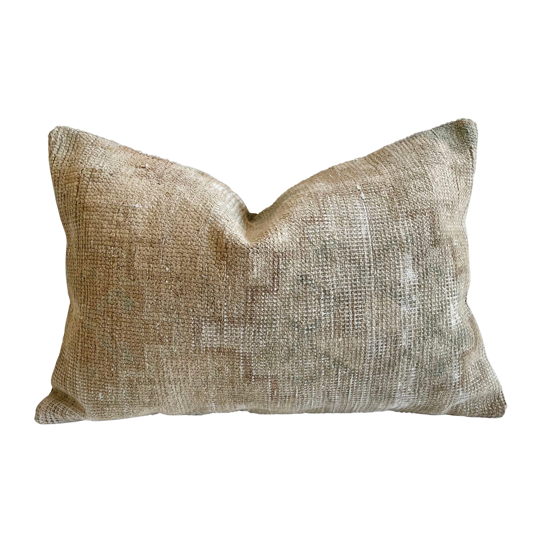 Custom Lumbar Turkish Kilim Rug Wool Pillow with Insert