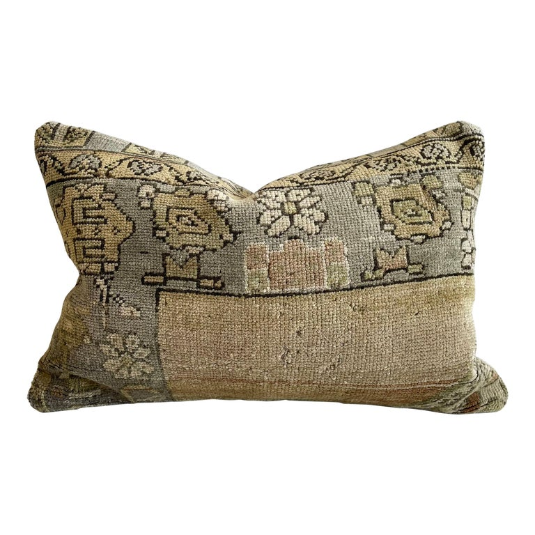 Custom Lumbar Turkish Kilim Rug Wool Pillow in Tans and Grays with Insert For Sale
