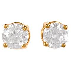 Custom Made 1.00 Carat VS Diamond Studs Unisex 14 Karat Rose Gold