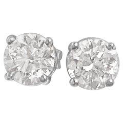 Custom Made 1.00 Carat VS Diamond Studs Unisex 14 Karat White Gold