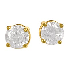 Custom Made 1.00 Carat VS Diamond Studs Unisex 14 Karat Yellow Gold