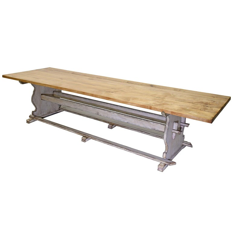 Contemporary Bonnin Ashley Custom Made 12' Gustavian Table Shown with Painted Trestle Base  For Sale