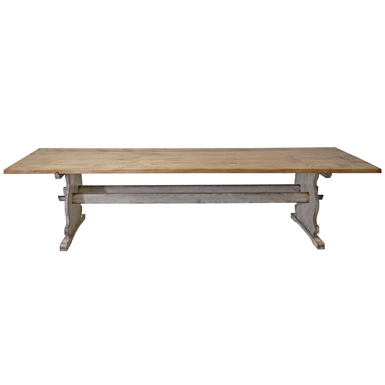 Maple Bonnin Ashley Custom Made 12' Gustavian Table Shown with Painted Trestle Base  For Sale