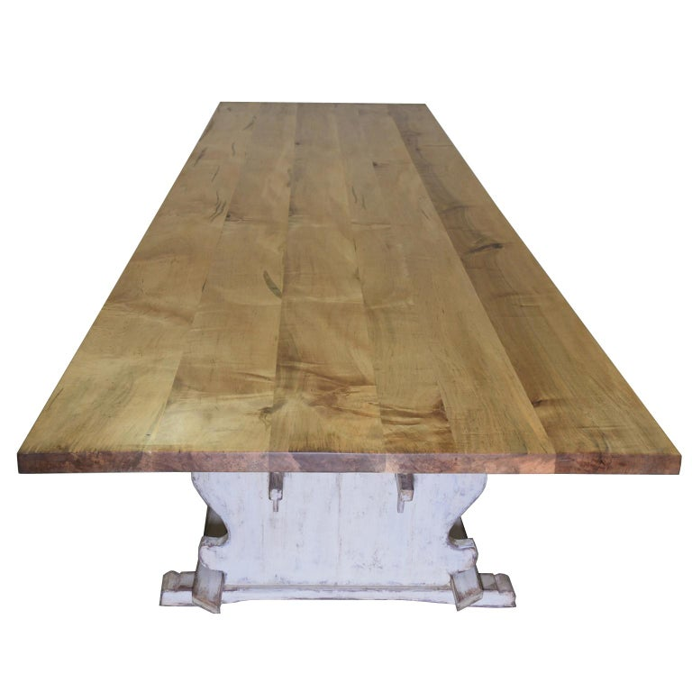 Bonnin Ashley Custom Made 12' Gustavian Table Shown with Painted Trestle Base  For Sale 1