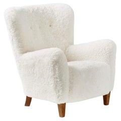 Custom Made 1940s Sheepskin Lounge Chair
