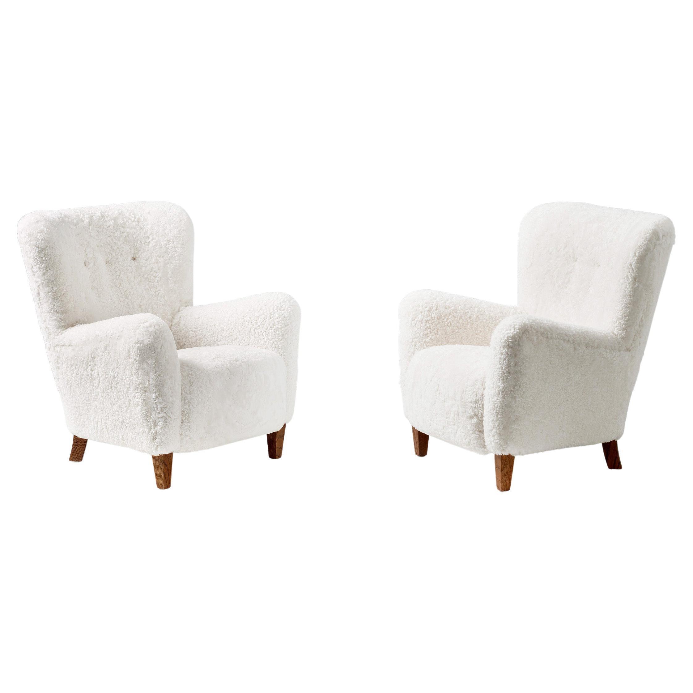 Custom Made 1940s Sheepskin Lounge Chairs
