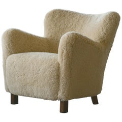 Custom Made 1940's Style Lounge Chair Upholstered in Beige Sheepskin Shearling