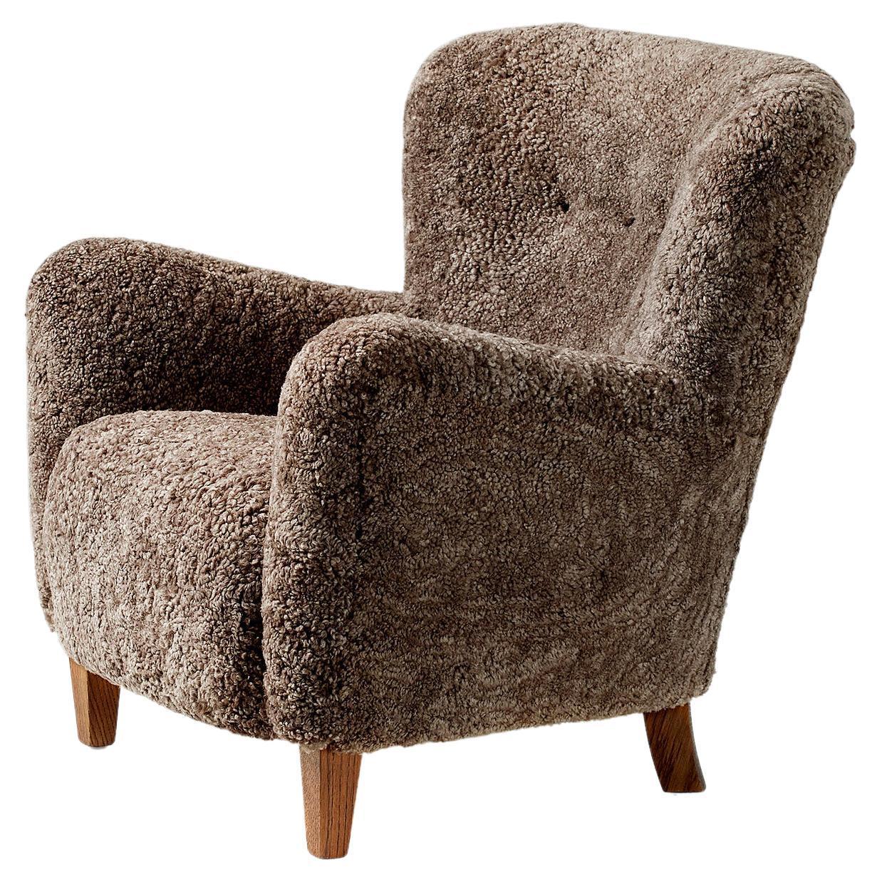 Custom Made 1940s Style Sheepskin Lounge Chair