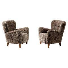 Custom Made 1940s Style Sheepskin Lounge Chairs