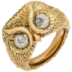 Custom Made 1960s Diamond Moonstone Gold Owl Bracelet