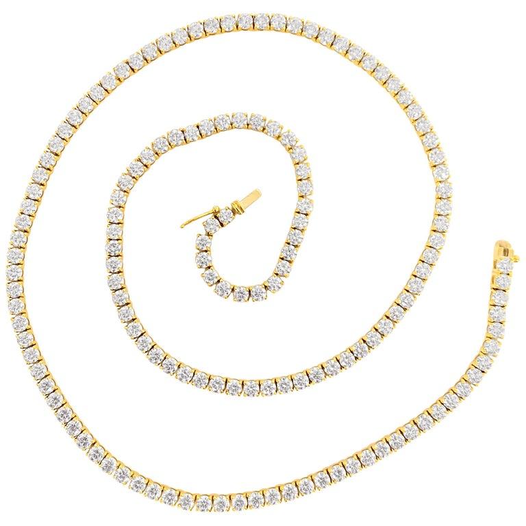 Custom Made 28.50 Carat VVS Diamond Tennis Necklace 14 Karat Yellow Gold For Sale