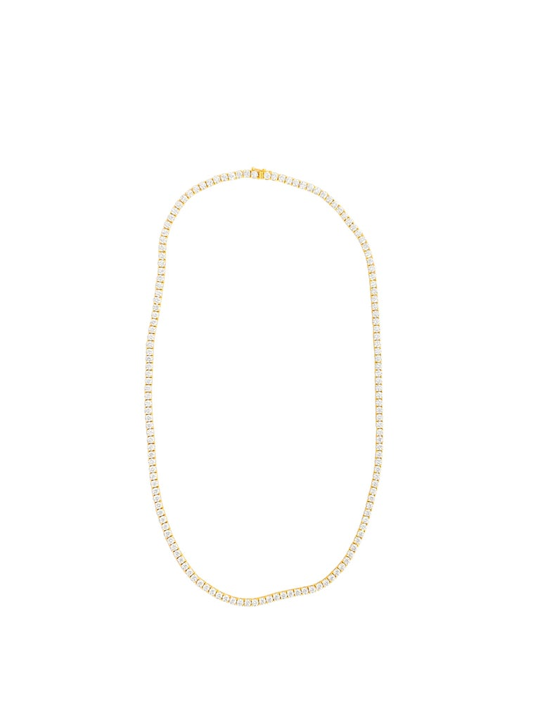 Metal: 14K yellow gold Diamonds: 28.50 carat weight total.  Clarity: VVS Length: 22.50 inches  Brand new custom made diamond tennis necklace in yellow gold.  Unisex tennis necklace.