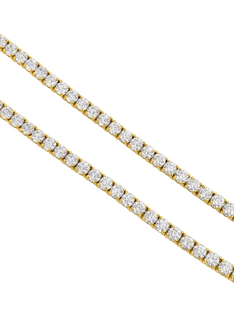 Modern Custom Made 28.50 Carat VVS Diamond Tennis Necklace 14 Karat Yellow Gold For Sale