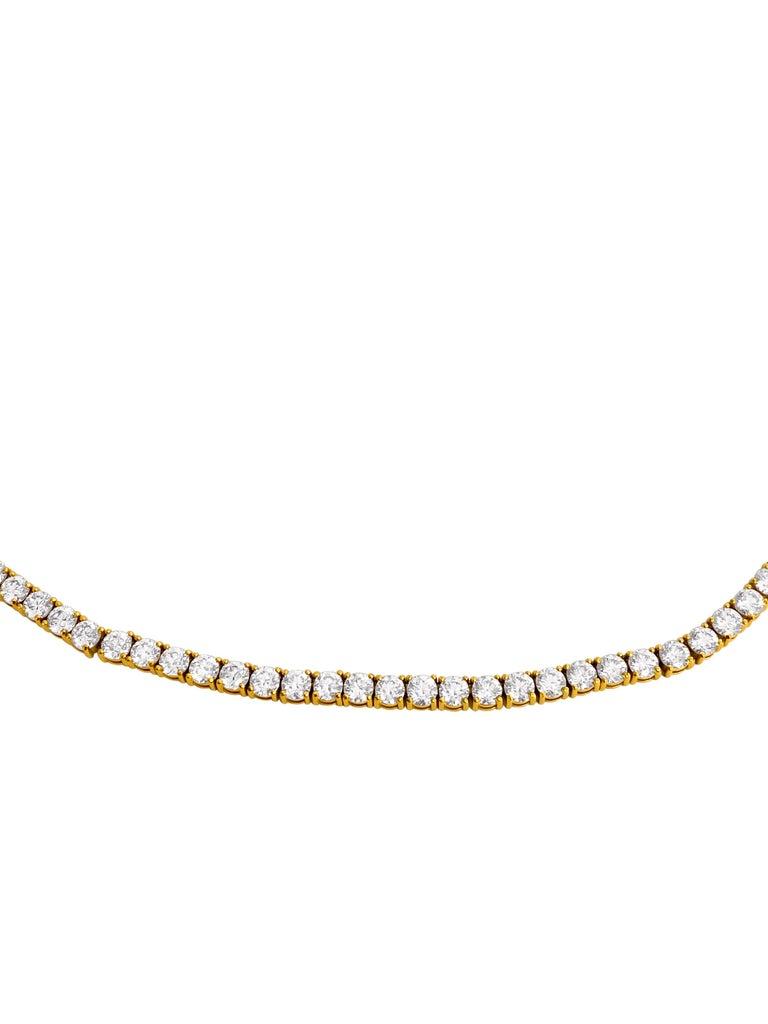 Round Cut Custom Made 28.50 Carat VVS Diamond Tennis Necklace 14 Karat Yellow Gold For Sale