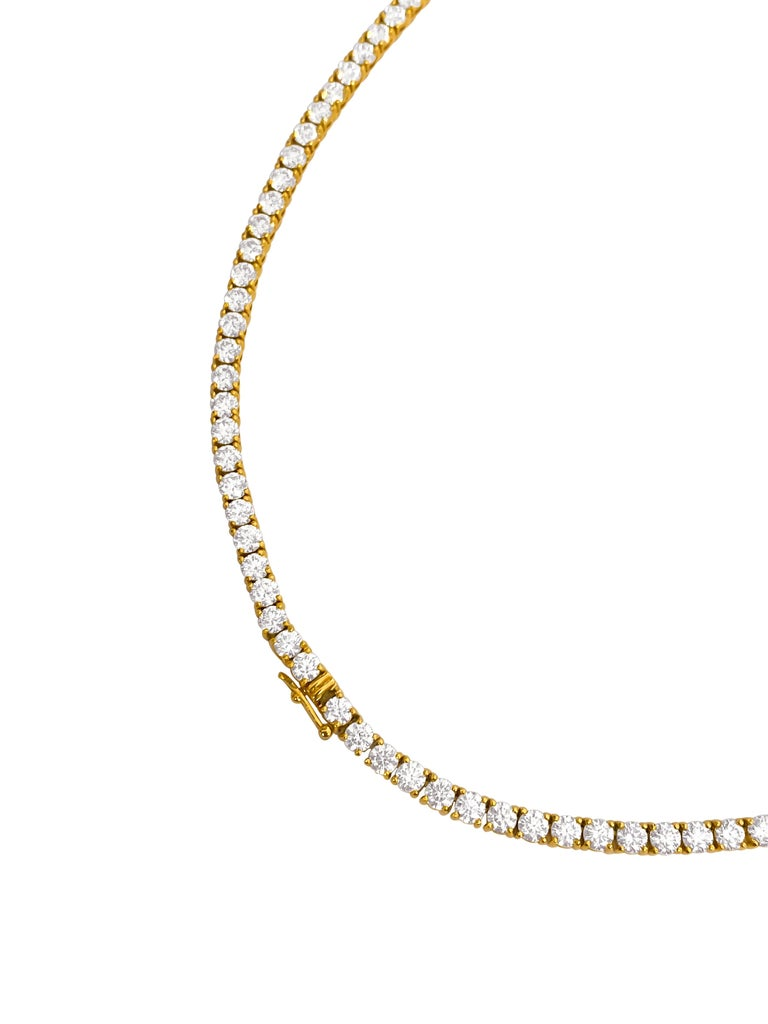 Women's or Men's Custom Made 28.50 Carat VVS Diamond Tennis Necklace 14 Karat Yellow Gold For Sale