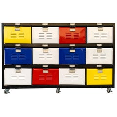 Custom Made 4 X 3 Locker Basket Unit on Casters with Multicolored Drawers