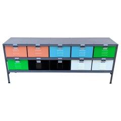 Custom Made 5 X 2 Locker Basket Unit With Bright Multicolored Drawers