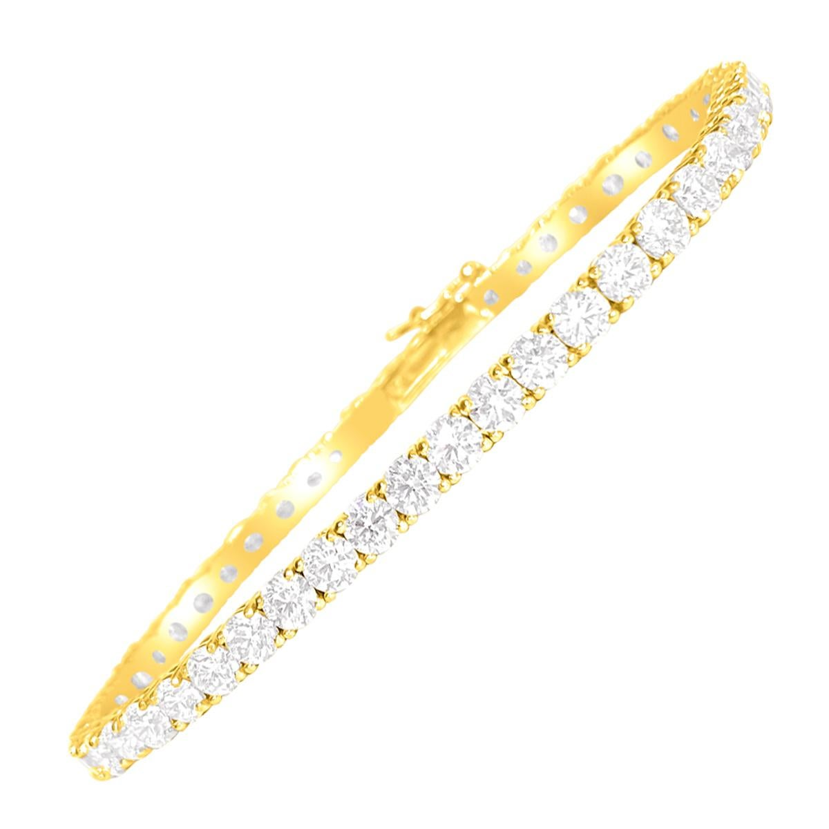 Custom Made 9.10 Carat VVS Diamond Tennis Bracelet 14 Karat Yellow Gold