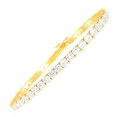 Custom Made 9.10 Carat VVS Diamond Tennis Bracelet 14 Karat Yellow Gold