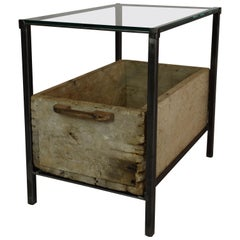 Custom Made Antique Drawer Table with Glass