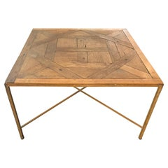 Custom Made Antique French Wood Parquet Floor Coffee Table