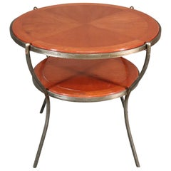Custom Made Art Deco Solid Walnut and Wrought Iron Center Occassional Table