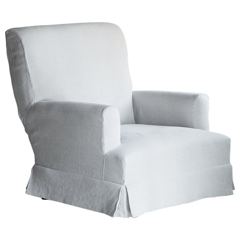 Custom Made Belgian Linen Armchair For Sale at 1stdibs