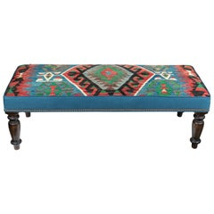 Custom-Made Bench with Wool Kilim & Belgian Linen