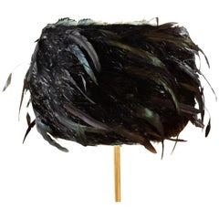 Custom Made Black Coque Feathered Lampshade