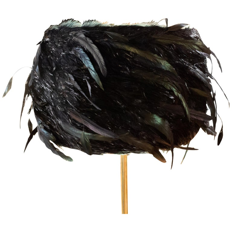 Custom Made Black Coque Feathered Lampshade For Sale
