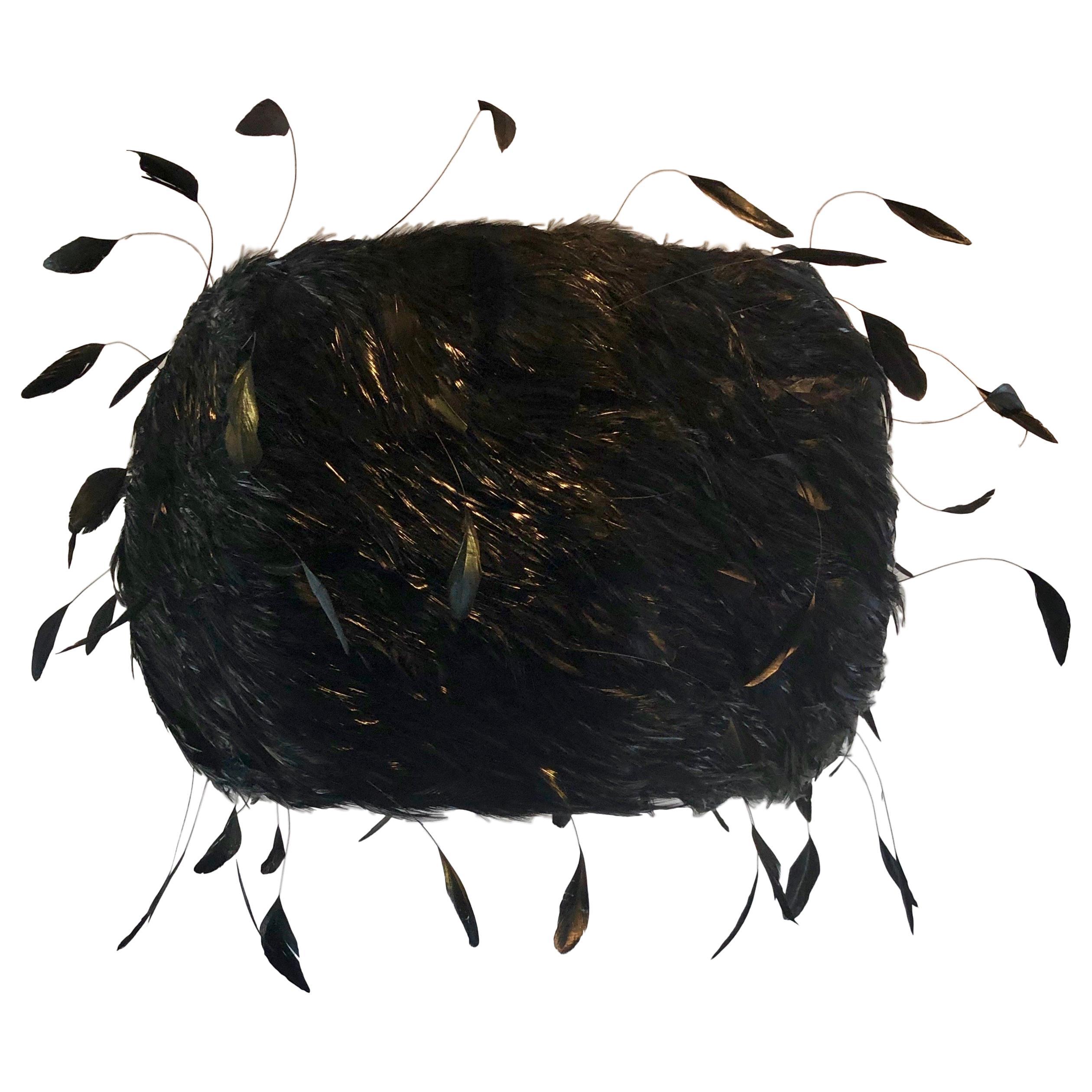 Custom Made Black Feathered Lampshade
