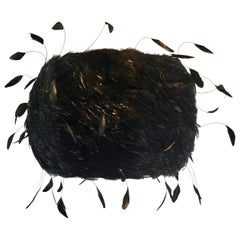 Custom Made Black Feathered Lampshade