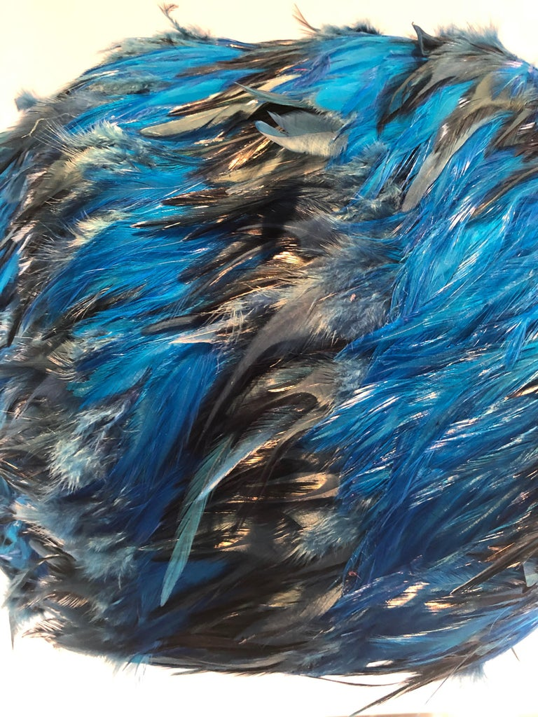 American Custom Made Blue and Black Feathered Lampshade For Sale