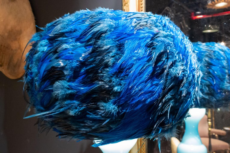 Custom Made Blue and Black Feathered Lampshade For Sale 1