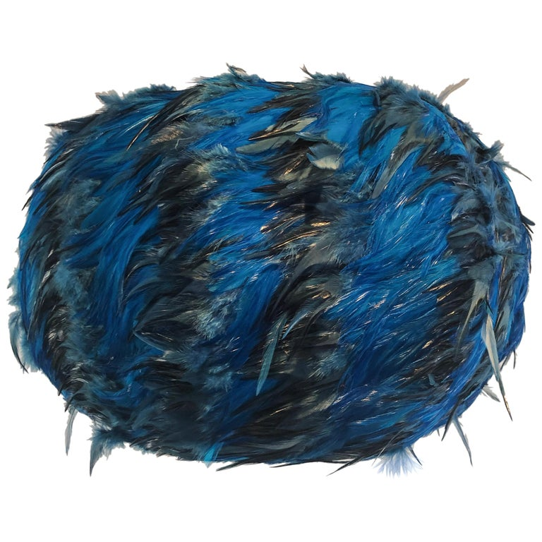 Custom Made Blue and Black Feathered Lampshade For Sale