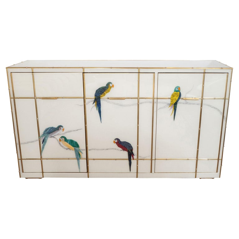 Custom Made Brass Bamboo Inlay and Ivory Murano Glass Parrot Sideboard, Italy For Sale