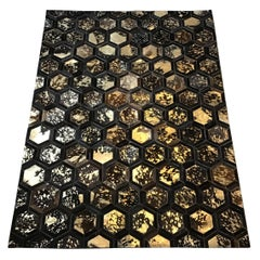 Custom Made  Castelluxe Hexagonal Brown and Gold Metallic Paint Hair on Hide Rug