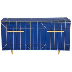 Custom Made Cobalt Blue Glass with Brass Inlay Mirrored Sideboard, Spain
